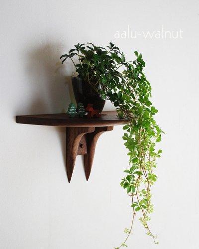 画像1: 【ウォールシェルフ/壁掛け棚】アール ウォールナットモデル 壁面をおしゃれに飾るウォールシェルフ シンプル ナチュラルな木製壁掛け飾り棚 玄関やトイレなどにお薦め