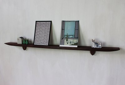 画像1: 【おしゃれな壁掛け棚】ライン70ウォールナットゼロモデル 石膏ボード壁専用 穴あけなし 無垢家具通販イオリスペース