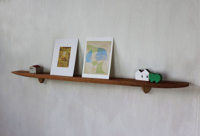 画像1: 【おしゃれな壁掛け棚】ライン70クルミゼロモデル 石膏ボード壁専用 穴あけなし 無垢家具通販イオリスペース