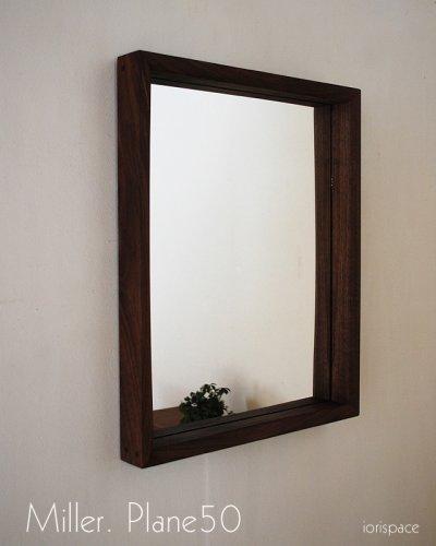 画像1: 壁掛け鏡プレーン50ウォールナット おしゃれで高級感たっぷり 大人気ウォールナットのシンプルなインテリアミラー