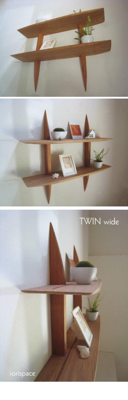 """画像3: 【送料無料】木製壁掛棚/ウォールシェルフ/""""TWIN wide""""ツイン ワイド"""