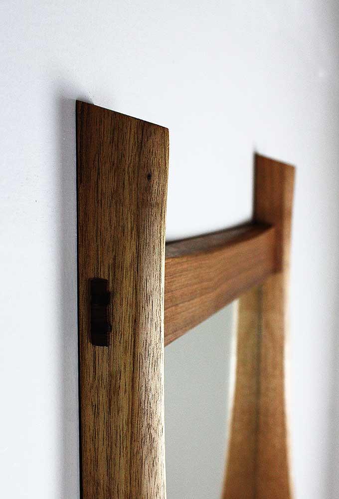 棚付き壁掛け鏡 soff40クルミ ホゾ部分