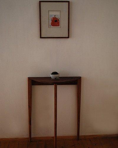 画像1: コンソールテーブル(スリー)ウォールナットおしゃれで超スリム奥行23cm 送料無料