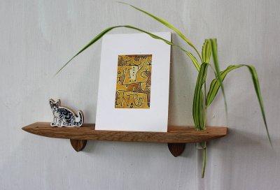 画像1: 玄関インテリアに最適!穴あけなし 壁掛け棚ライン30オークゼロ 石膏ボード壁専用 おしゃれな飾り棚