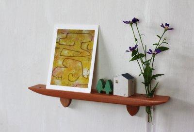 画像1: 玄関インテリアに最適!穴あけなし 壁掛け棚ライン30チェリーゼロ 石膏ボード壁専用 おしゃれな飾り棚