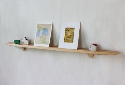 画像1: 【おしゃれな壁掛け棚】ライン70ホワイトゼロモデル 石膏ボード壁専用 穴あけなし 無垢家具通販iイオリスペース