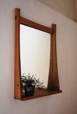 棚付き壁掛け鏡soft50クルミ おしゃれでシンプル&ナチュラル 北欧風デザインミラー[壁掛け鏡&棚専門店イオリスペース]