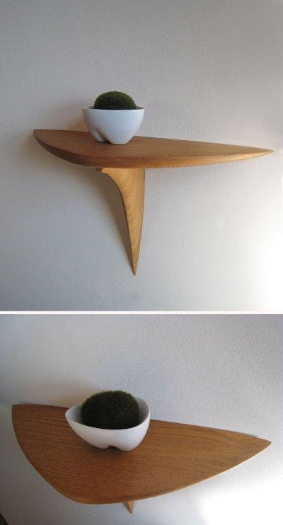 """画像1: 【送料無料】木製壁掛棚/ウォールシェルフ/""""kuritana""""クリタナ[ 壁面にワンポイント!]"""