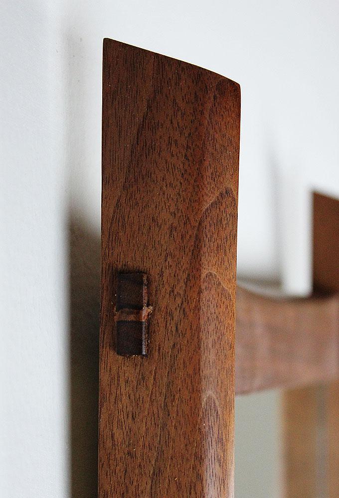 棚付き壁掛け鏡 soft30ウォールナット ホゾ部分